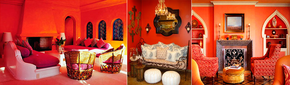 Moroccan-interior-in-shades-of-red-coral